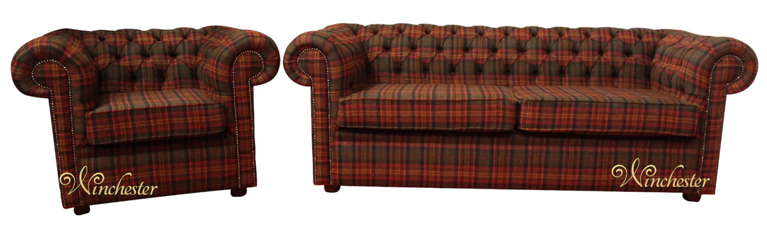 Chesterfield Arnold 3 Seater Club Chair Sandringham Mandarin Wool Check Tweed Fabric Wc
