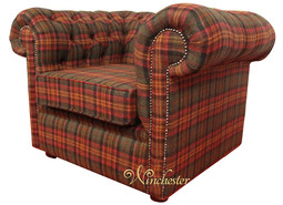 Chesterfield Arnold Wool Tweed Club Chair Low Back Armchair Sandringham Mandarin Check Fabric