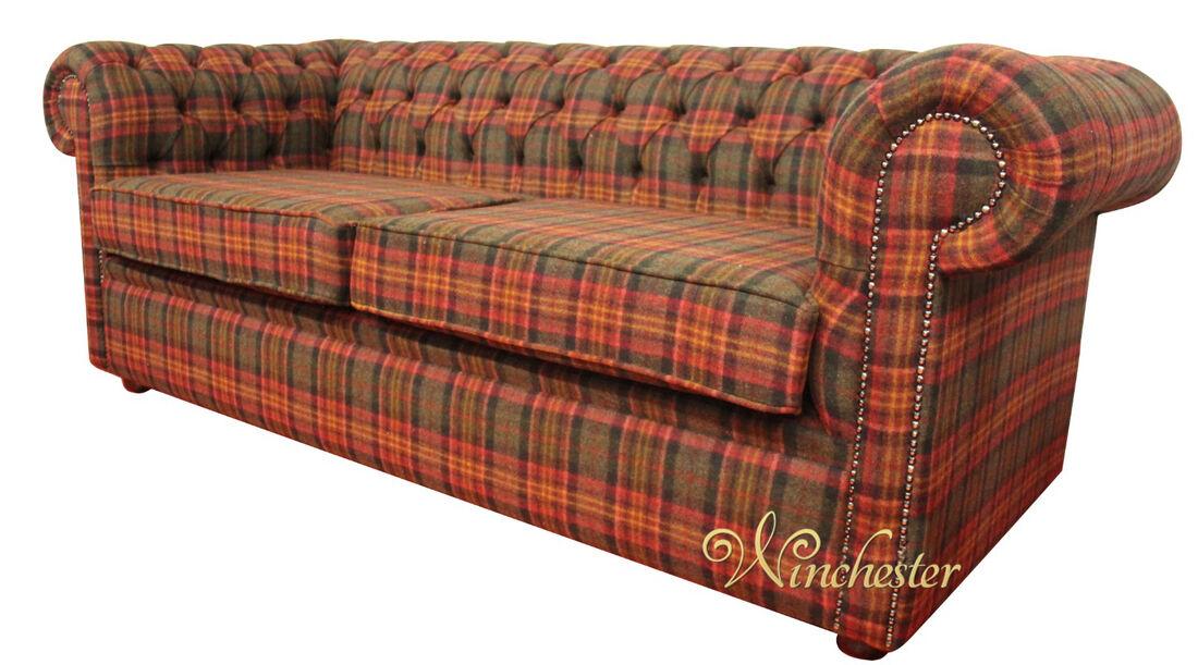 Chesterfield Arnold Wool 3 Seater Sofa Settee Sandaringham Mandarin Wc