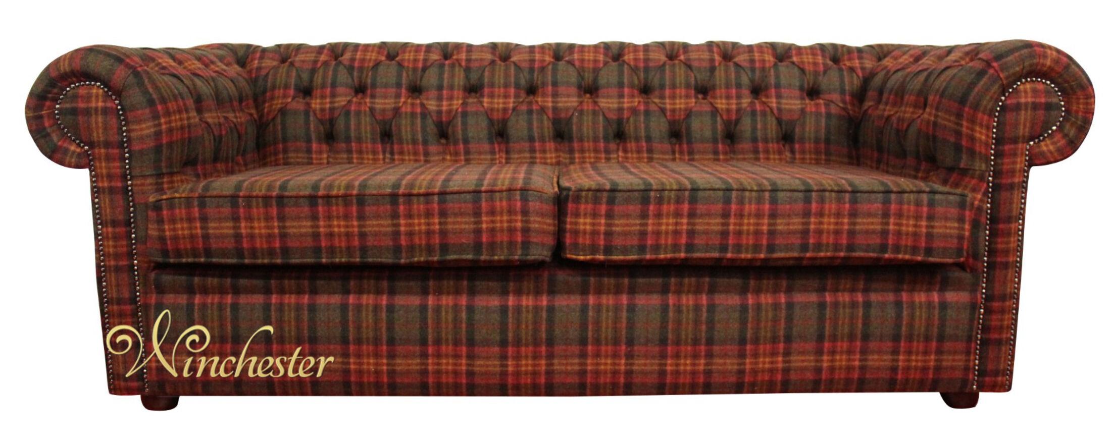 ... Chesterfield Arnold Wool Tweed 3 Seater Sofa Settee