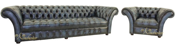 Chesterfield Balmoral 4 Seater + Armchair Button Seat Sofa Suite Antique Blue Leather
