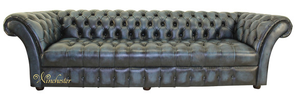 Chesterfield Balmoral 4 Seater Button Seat Sofa Settee Antique Blue Leather