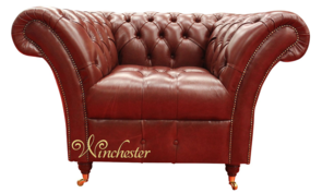 Chesterfield Balmoral Armchair Buttoned Seat Old English Aniline Chestnut Leather