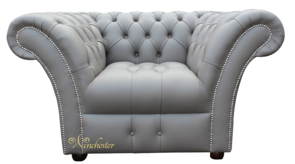 Chesterfield Balmoral Armchair Buttoned Seat Silver Birch Grey Leather