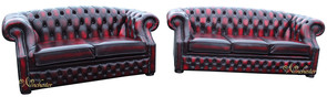 Chesterfield Buckingham 3 Seater + 2 Seater Oxblood Leather Sofa Suite Offer