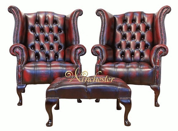 Chesterfield Offer Buttoned Seat Pair Queen Anne High Back Wing Chair Footstool