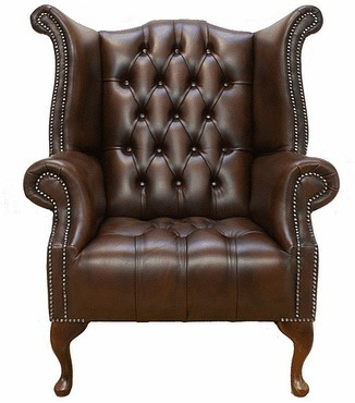 Chesterfield Buttoned Seat Queen Anne High Back Wing Chair UK Manufactured Antique Brown