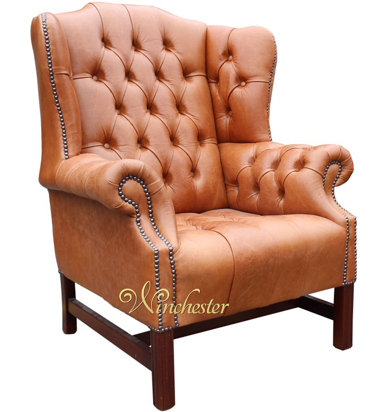 Chesterfield Chrchill High Back Wing Chair Old English Tan Leather Wc