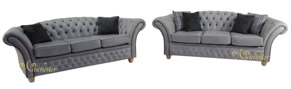 Chesterfield Churchill Suite 3+3 Seater Sofa Settee Stella Liquorice  Leather