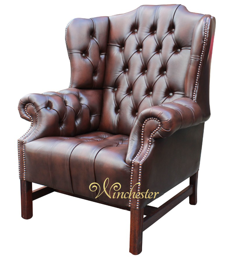 Chesterfield Churchill High Back Wing Chair Uk Manufactured Antique Brown Leather Sofas