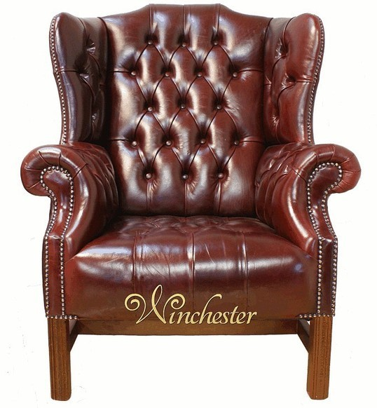 Kings Wing Chair in Leather UK Manufactured Old English Burgandy