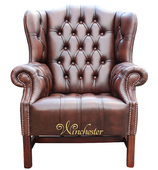 chesterfield churchill high back wing chair uk manufactured antique brown leather sofas. Black Bedroom Furniture Sets. Home Design Ideas