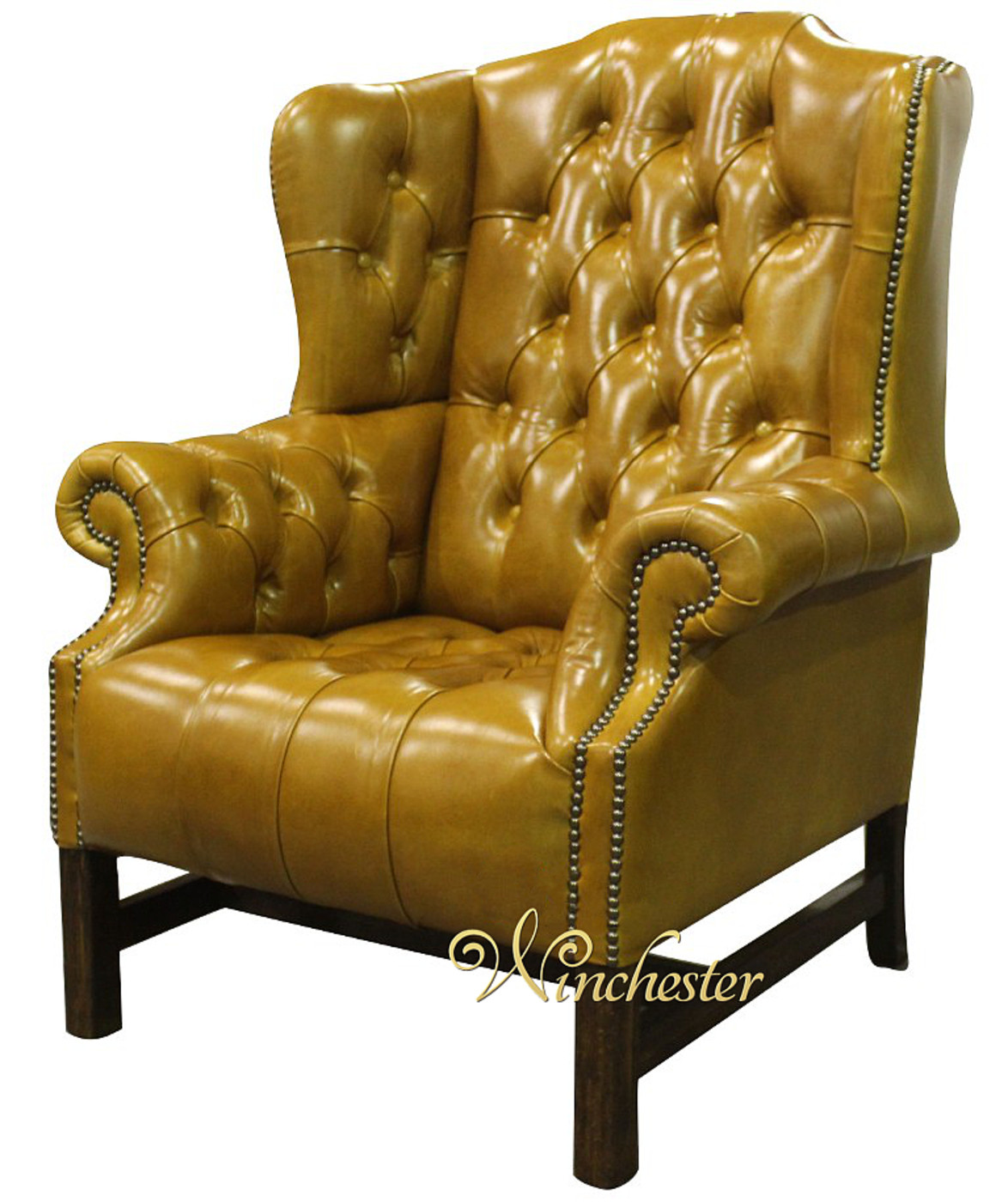 ... Chesterfield Churchill Winged Back Chair Spice Leather Wc