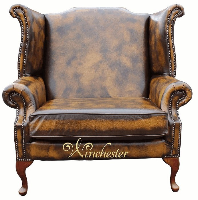 Chesterfield Clic Saxon Leather Wing Chair Wc