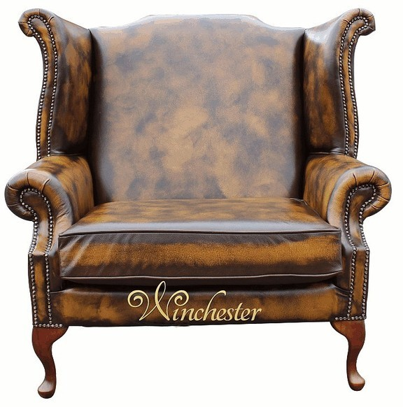 Saxon Classic Chesterfield Queen Anne High Back Wing Chair Antique Tan Leather