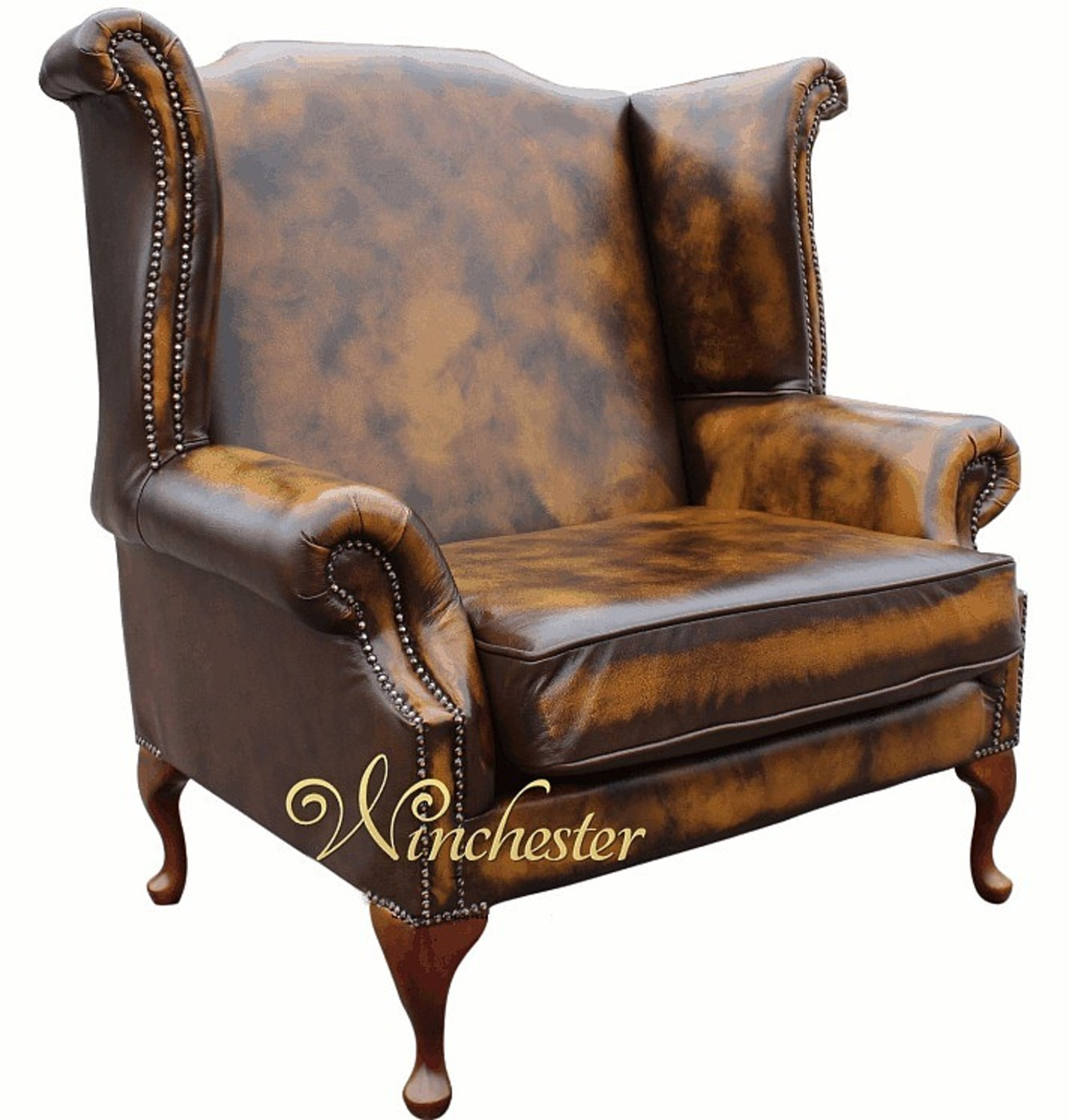 saxon classic queen anne high back wing chair antique
