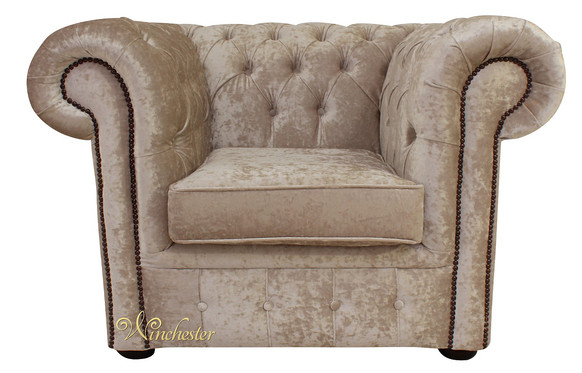 Chesterfield Low Back Club ArmChair Senso Oyster Velvet Fabric