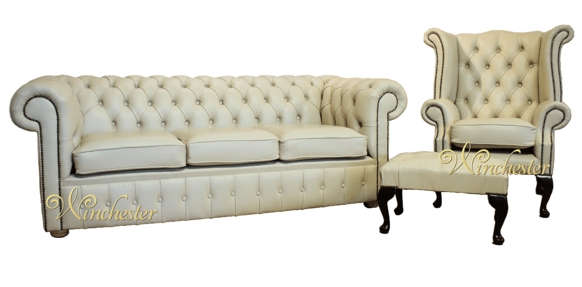 Chesterfield Cream Leather Sofa Offer 3+1+ Footstool