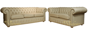 Chesterfield 3+2 Cream Leather Sofa Offer