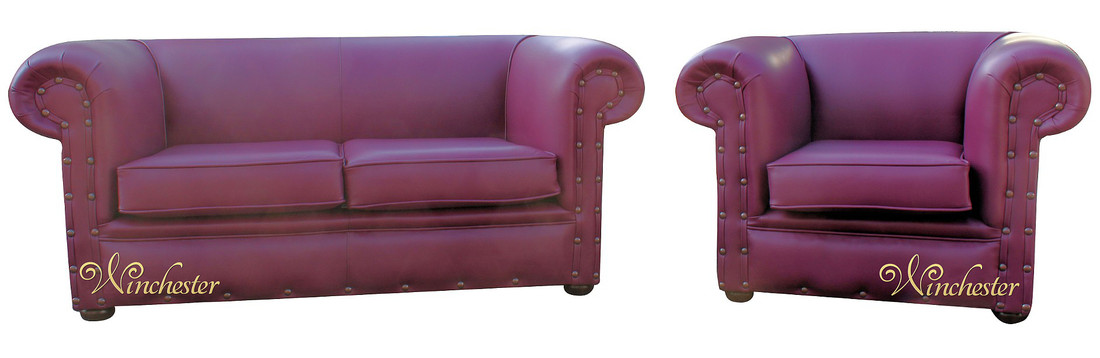 Chesterfield Decor 2 Seater Club Chair Sofa Suite Vele Burgandy Leather Wc