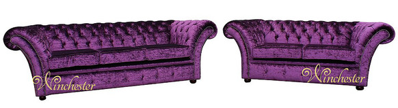 Chesterfield Drummond Purple 3+2 Seater Sofa Settee Suite Boutique Crush Velvet Fabric