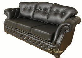Era Swarovski 3 Seater Sofa Settee Traditional Chesterfield Black Leather