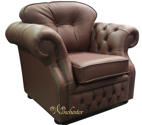 Chesterfield Era High Back Leather Armchair Burgandy