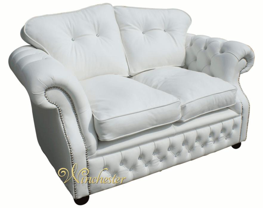 Era Swarovski 2 Seater Sofa Settee Traditional Chesterfield White Leather