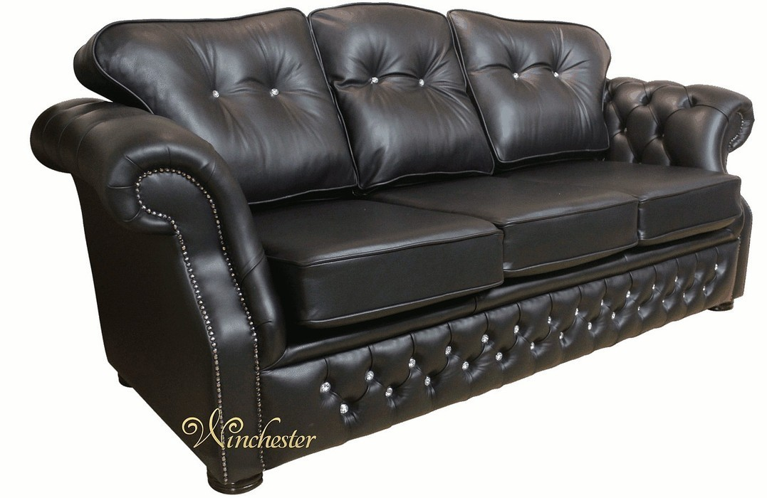 Era Swarovski 3 Seater Sofa Settee Traditional Chesterfield Black