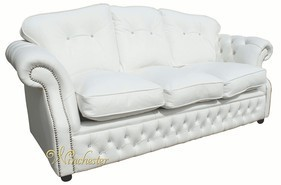Era Swarovski 3 Seater Sofa Settee Traditional Chesterfield White Leather