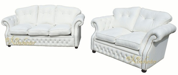 Era 3+2 Swarovski Seater Sofa Settee Traditional Chesterfield White Leather