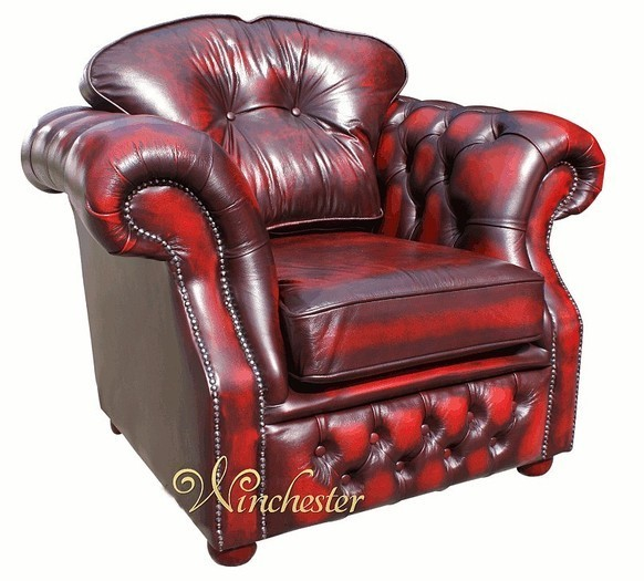 Chesterfield Era High Back Leather Armchair Antique Oxblood Traditional Sofas