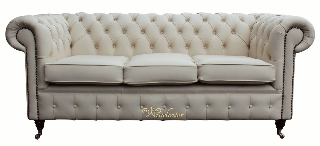 Chesterfield Es 3 Seater Ivory Sofa Settee Wc