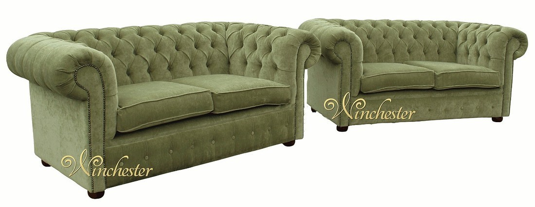 Chesterfield Fabric Sofa Suite Sage Green Wc