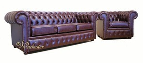 Chesterfield Faux Leather Sofa 3+Club