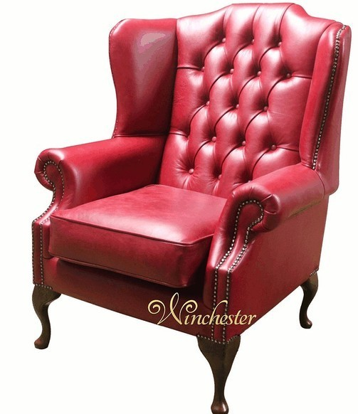 Chesterfield Georgian High Back Wing Chair UK Manufactured Old English Gamay