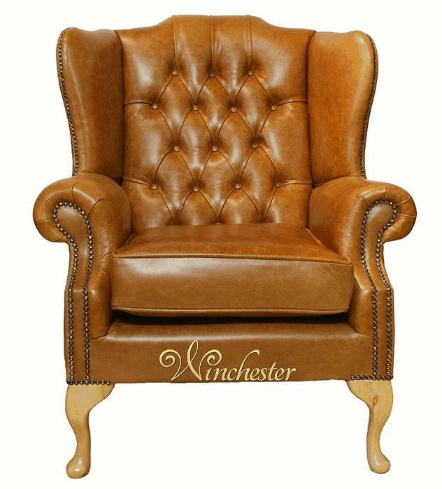 chesterfield gladstone queen anne high back wing chair uk manufactured old english tan leather. Black Bedroom Furniture Sets. Home Design Ideas