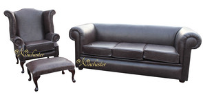 Chesterfield Hampton 3 Seater Settee + Wing Chair + Footstool Old English Smoke Leather Sofa Suite Offer