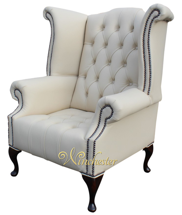Chesterfield buttoned queen anne high back wing chair for Armchair with high back