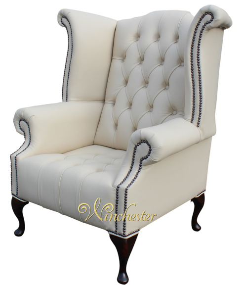 Chesterfield Oned Queen Anne High Back Wing Chair Cottonseed Cream Leather