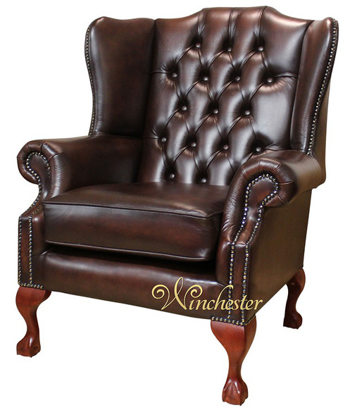 Chesterfield Highclere Claw Ball Wing Chair UK Manufactured Antique Brown
