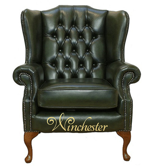 Chesterfield Highclere Flat Wing Queen Anne High Back Wing Chair UK Manufactured Antique Green