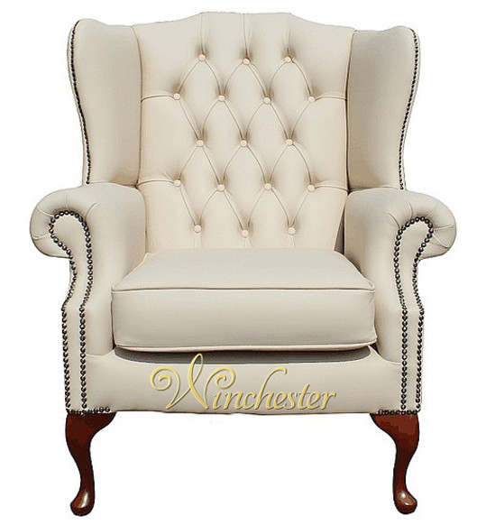 Chesterfield Highclere Flat Wing Queen Anne High Back Wing Chair UK Manufactured Cream Leather