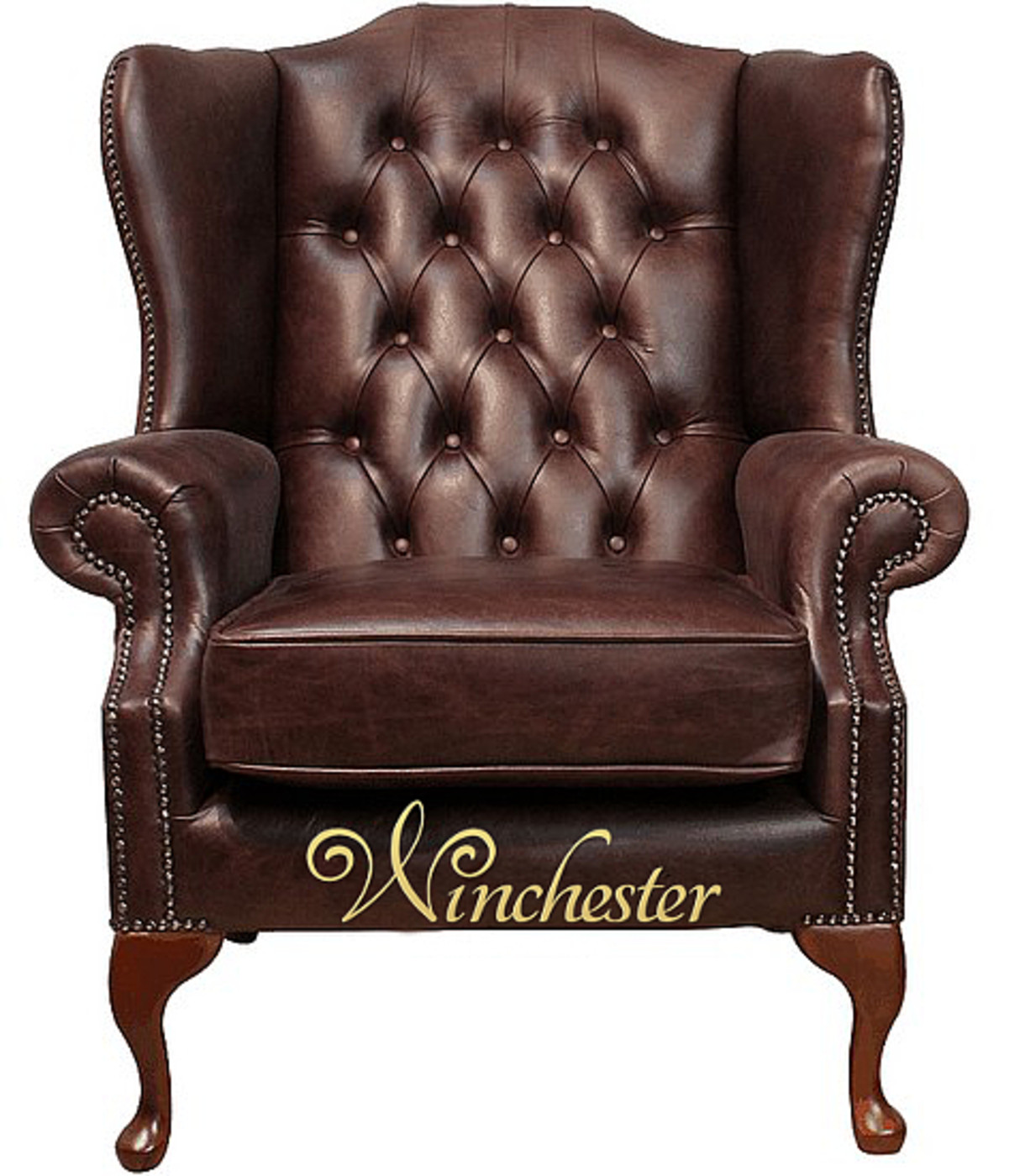 Chesterfield Highclere High Back Wing Chair  Uk Manufactured Hand Dyed Old English Dark Brown Leather Wc