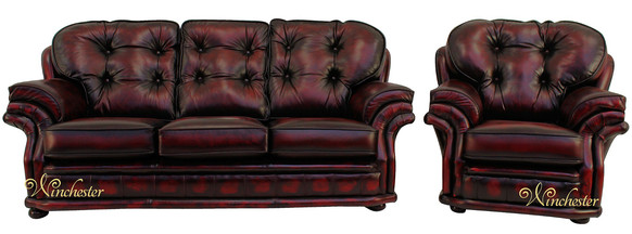 Chesterfield Knightsbridge 3+1 Seater Settee Traditional Sofa Suite Antique Oxblood