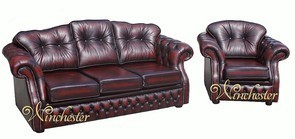 Chesterfield Lancashire Leather Sofa Suite Offer