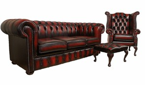 Chesterfield Leather Oxblood Sofa 3+Wing+Footstool