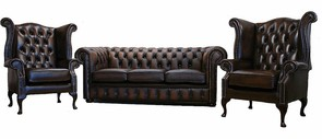 Chesterfield Leather Sofa Offer Antique Brown