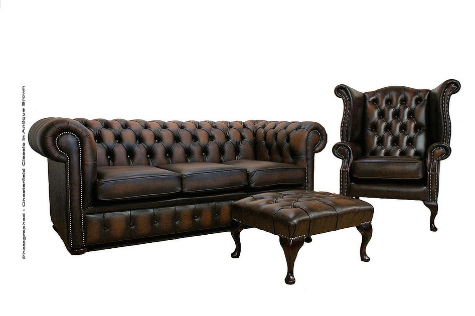 Chesterfield Leather Sofa Suite 3 1 Footstool Antique Brown Sofas Traditional Sofas