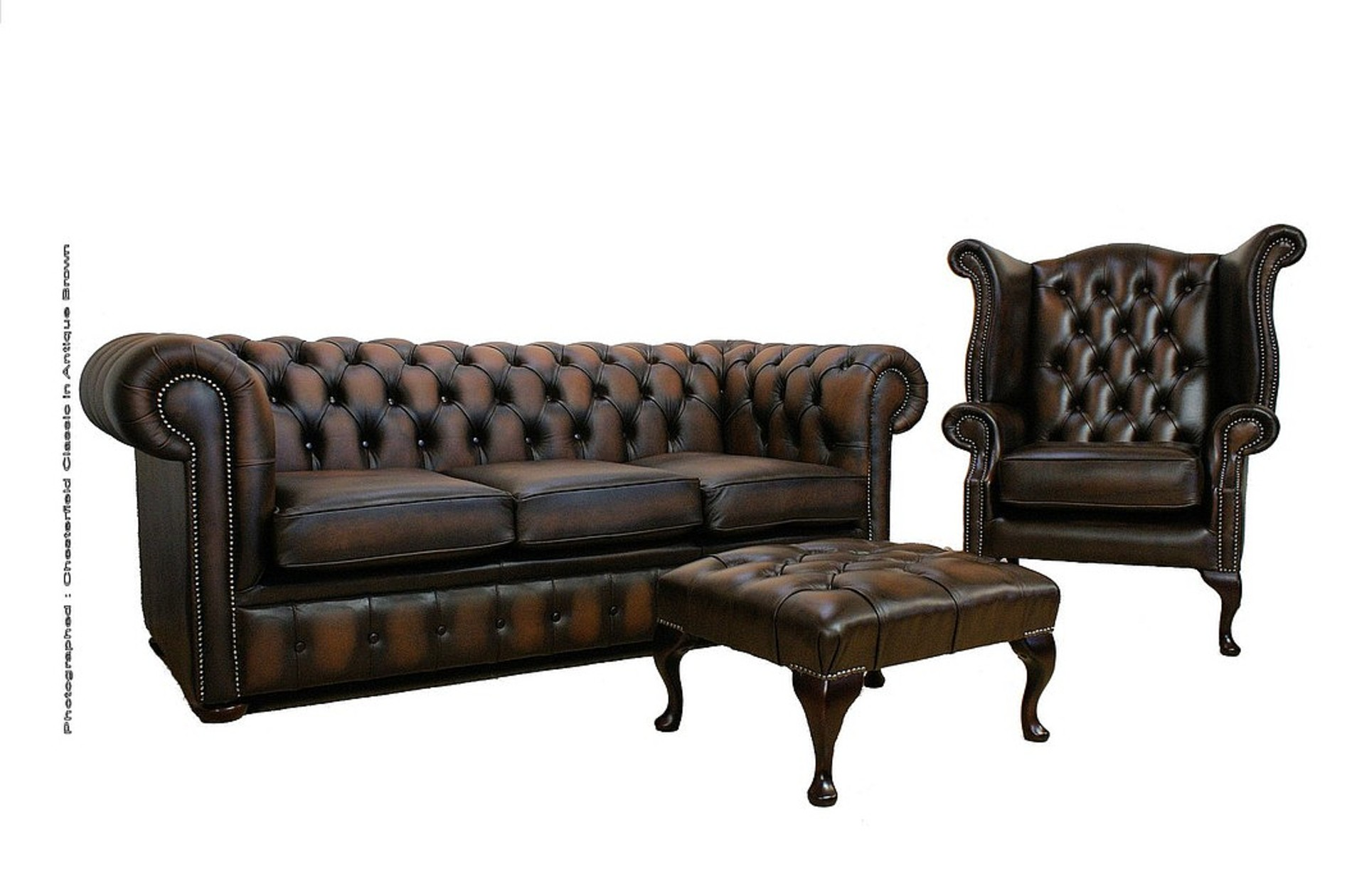Chesterfield Leather Sofa Suite 3 + 1 + Footstool Antique Brown, Leather  Sofas, Traditional Sofas